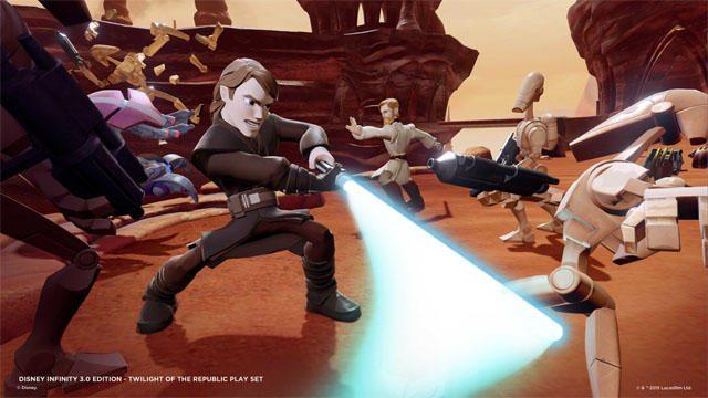 『スター・ウォーズ』の「プレイセット」モード。ライトセーバーやフォースを使いこなして敵を倒し、銀河の危機を救うのだ!!