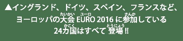 ▲イングランド、ドイツ、スペイン、フランスなど、ヨーロッパの大会EURO 2016に参加している24カ国はすべて登場!!