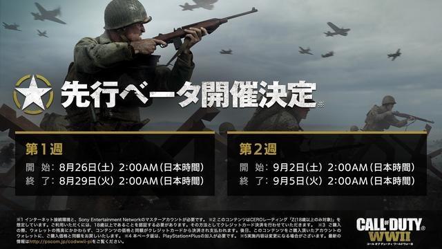 『CoD: WWII』マルチプレイヤーモード映像と先行ベータ期間を公開! PS Store早期購入特典の情報も!