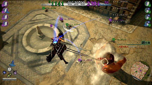 『進撃の巨人2』の多彩なオンライン要素。4対4のチーム戦や任務の救援など、マルチプレイを楽しもう!