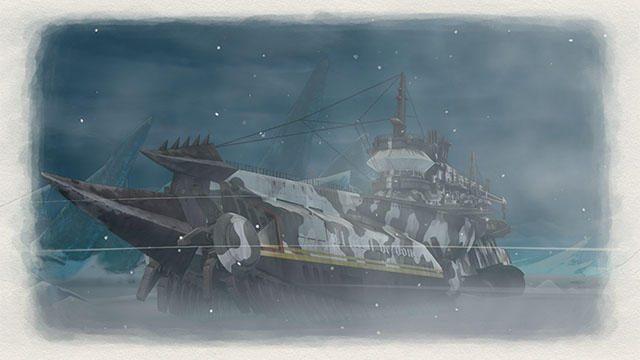 極寒の地を駆ける雪上巡洋艦センチュリオン。『戦場のヴァルキュリア4』ではシップオーダーで支援も可能!