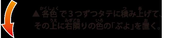 各色で3つずつタテに積み上げて、その上に右隣りの色の「ぷよ」を置く。