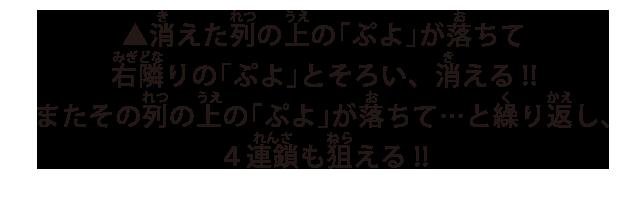 消えた列の上の「ぷよ」が落ちて右隣りの「ぷよ」とそろい、消える!!またその列の上の「ぷよ」が落ちて...と繰り返し、4連鎖も狙える!!